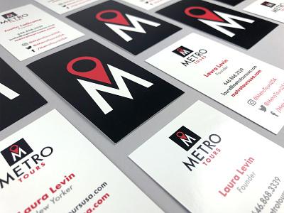 Metro Tours Business Cards typography identity startup logo startup branding startup nyc new york city black red logo designer identity designer identity branding identity design logo design logo branding agency branding business card design business card
