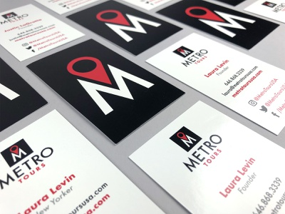 Metro Tours Business Cards typography identity startup logo startup branding startup nyc new york city black red logo designer identity designer identity branding identity design logo design logo branding agency branding business card design business card