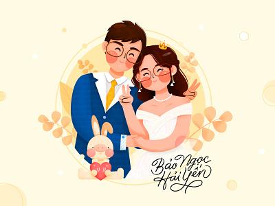 Happy Wedding happy grain pit pitstudio website ux wedding happy wedding pastelcolor design ui affinitydesigner cute vector character flat color illustration
