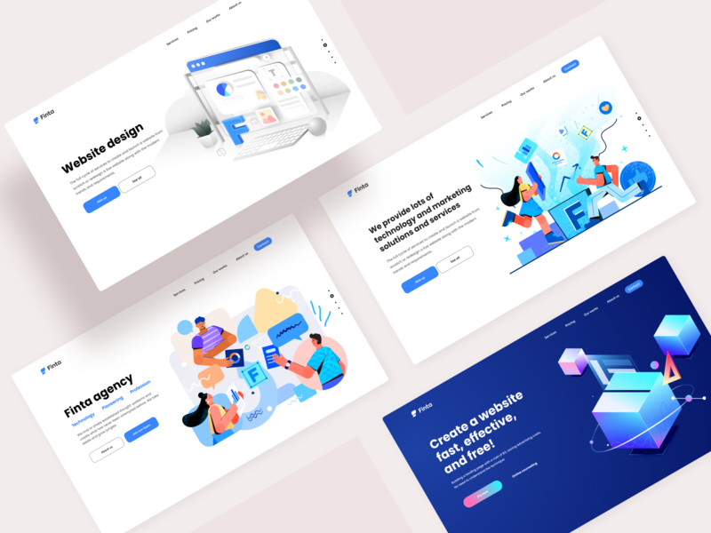 Finta - Agency website landing page website design pit studio pitstudio pit web design website ui affinitydesigner vector character flat color illustration