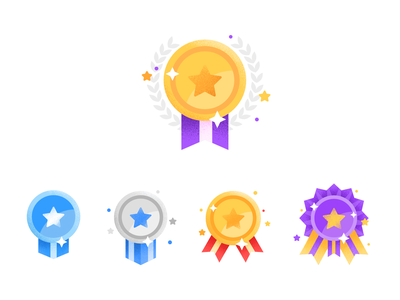 Loyalty Medal star awards icon medal reward loyalty drawing gradient affinitydesigner vector flat color illustration nooveetii