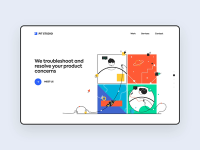 Web UI for Product design Services interface web design website web interaction animation pitstudio pit ux vector cute character ui design illustration