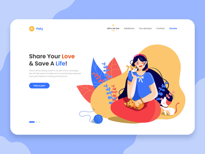 Pety Landing Page Design web uxui ux interface pit studio pitstudio pit kitty landing page ui sketch vector color drawing cute character illustration