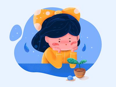 The little girl web pitstudio pit noise grain ui color sketch vector cute character flat illustration