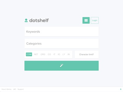 Dotshelf website layout search ui