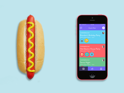 hotdog events hotdog iphone ui colorful