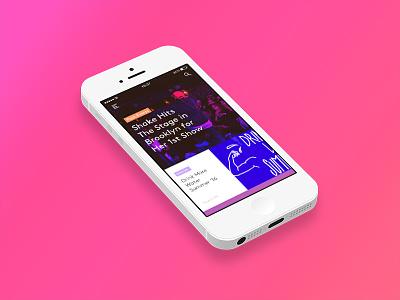 Home feed user interface ui app pink blog ios feed