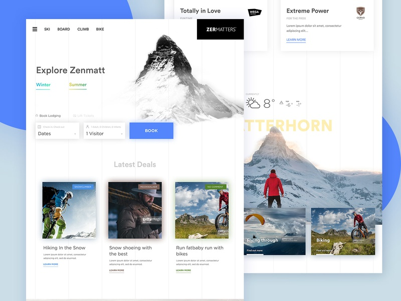 zermatt - homepage book mountain ski web design ux ui