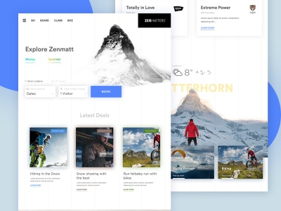 zermatt - homepage book mountain ski web design ux ui