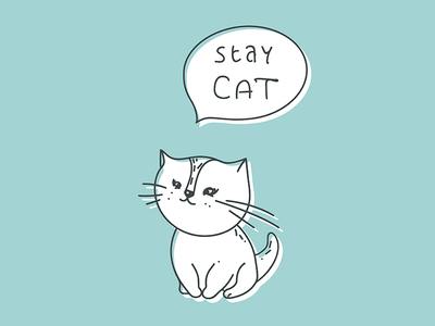 Stay Cat cheerful domestic white dialog box sweet cute animal character