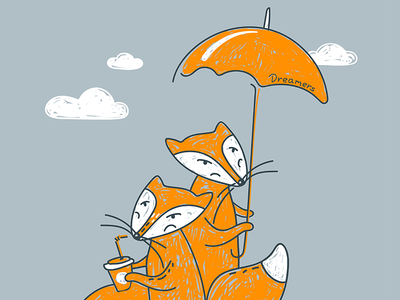 Dreamers adventure postcard gift engraving coffee umbrella foxes fox sweetheart illustration cute lovely