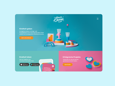 Charity project app love cheese charity justfun playground website webdesign design colorful paperart ux design ui design creativity childhood abstract 3d
