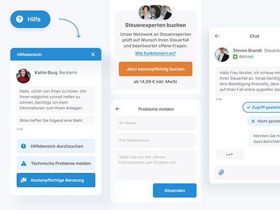 tax advice for web application online web design ui help chatbot advice tax