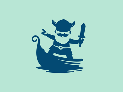 The Brave Viking adobe illustrator water boat sword travel maritime viking young character modern branding negative-space flat illustration vector mascot minimal logo