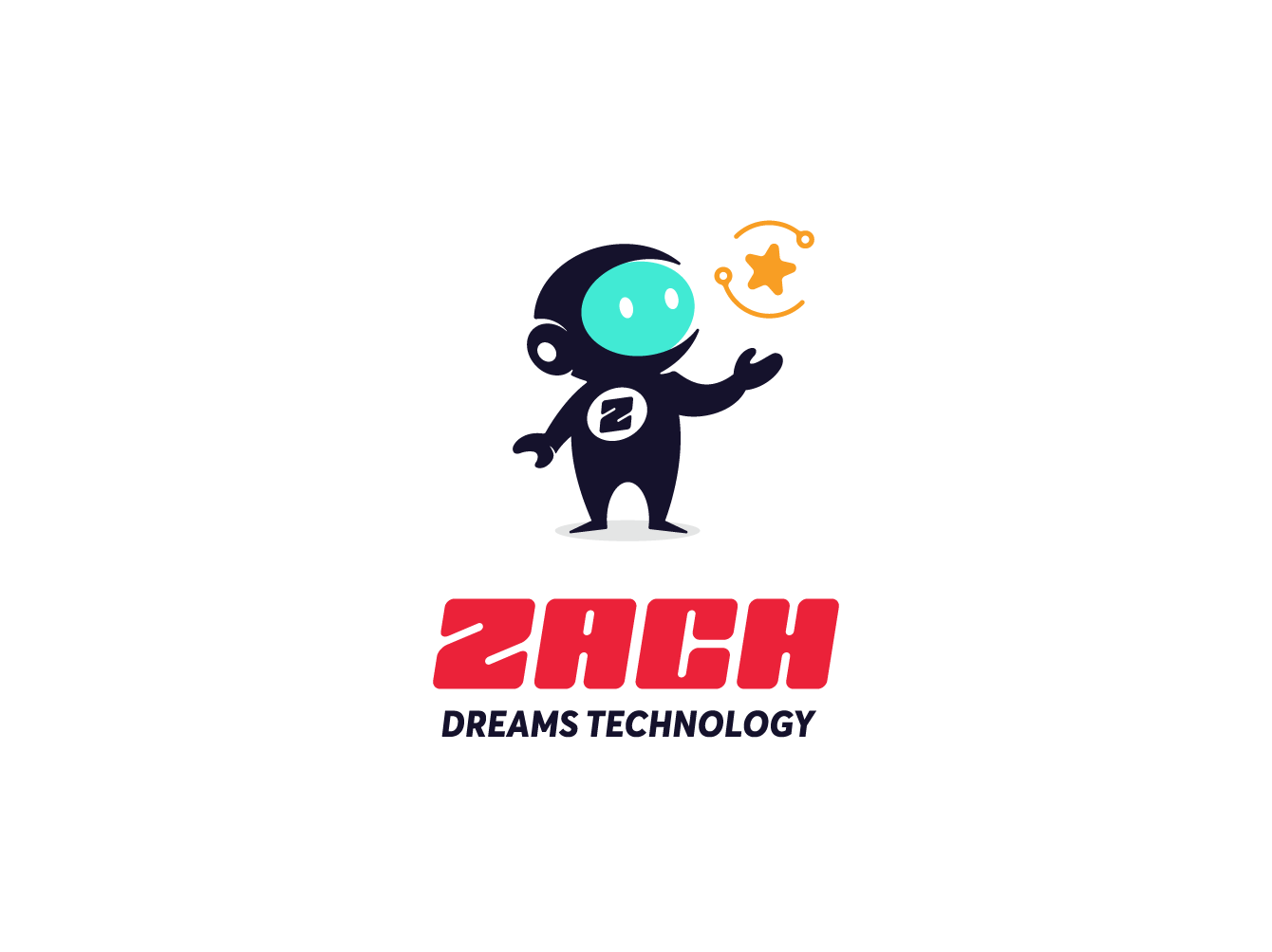 Zach Dreams Technology outerspace space astronaut cosmos mascot logo creative  design unconventional technology tech logo youthful cute branding young illustration flat modern character mascot logo