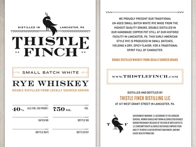 Thistle Finch Distillery Whiskey Labels