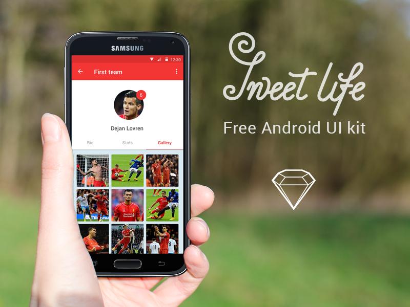 Free mobile UI kit Sweet life football fan club sport free material design android ui kit mobile