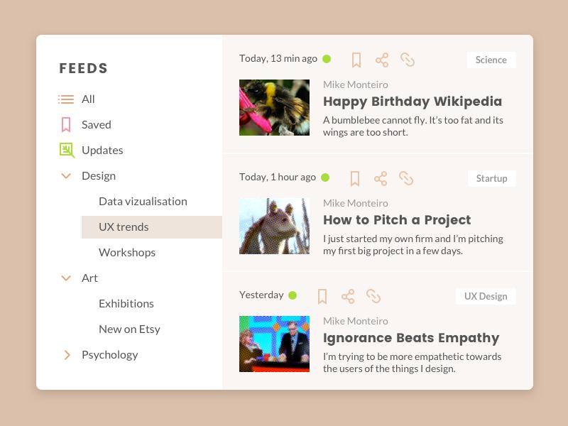 Newsreader 📰 read blog updates article interface feed dashboard social widget news design ux