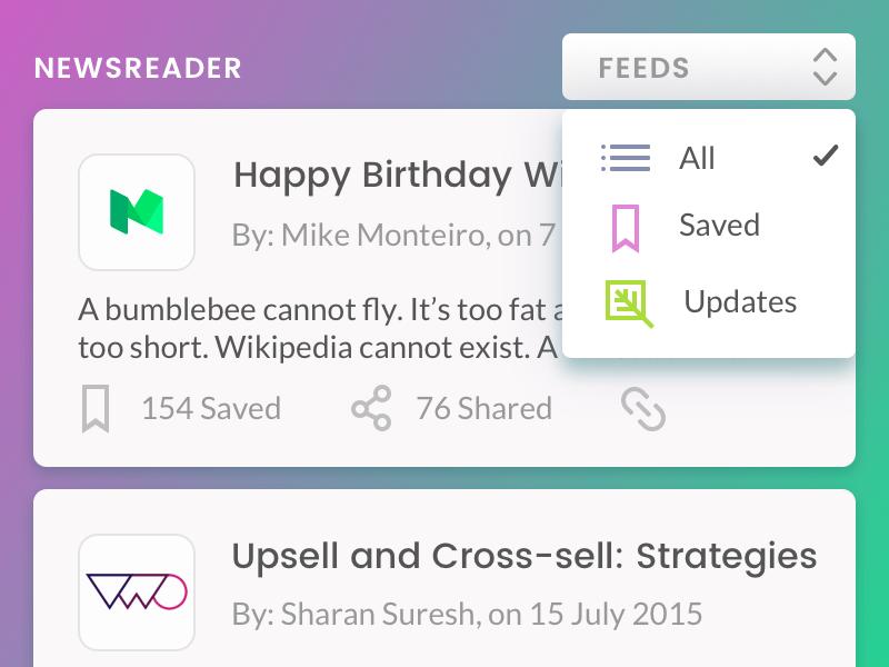 Newsreader close up newsreader news ui list cards visual design ux web-design