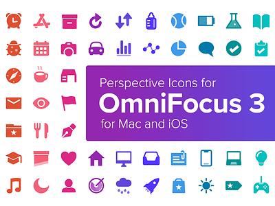 Perspective Icons for OmniFocus 3 for Mac and iOS omnigroup productivity gtd inbox tag sun car rocket radar omnifocus icons