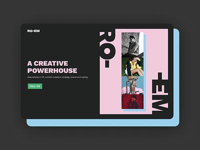 A creative powerhouse landingpage agency flat typography vector ui design web branding