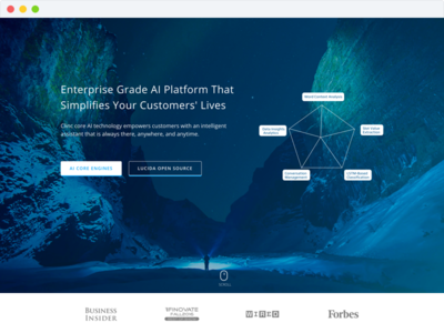 Clinc AI Platform visual design website web design web product mac landing-page landing hero colors