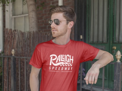 Raleigh Speedway Tee checkers lightning classic texture vintage design vector typography illustration vintage racing speedway raleigh