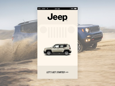 Fictional Jeep UI Splash Screen renegade start screen splash app auto jeep ui