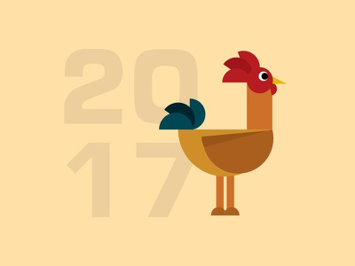 Geometric Rooster year 2017 rooster semicircle shapes geometric