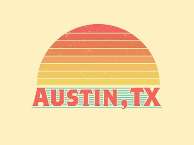 Austin, TX Shirt Design shirtdesign lines textured faded sunset texas austin