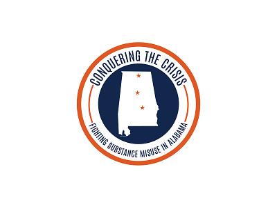 Conquering The Crisis Logo vector design drugs pharmacy event blue orange state states alabama circular logo