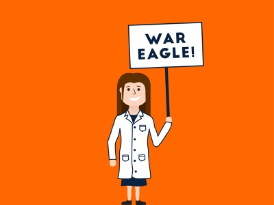 Auburn Pharmacist with Sign sign vector blue orange woman pharmacist war eagle illustration pharmacist alabama auburn pharmacy