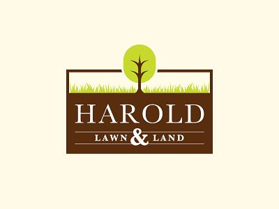 Harold Lawn & Land branding landscape grass tree lawncare lawn logo