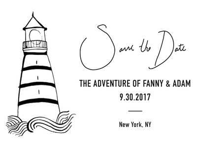Save the Date card with lighthouse