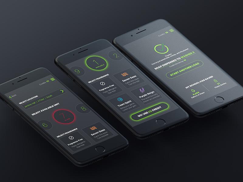 Laundry App Interface black uiux app design