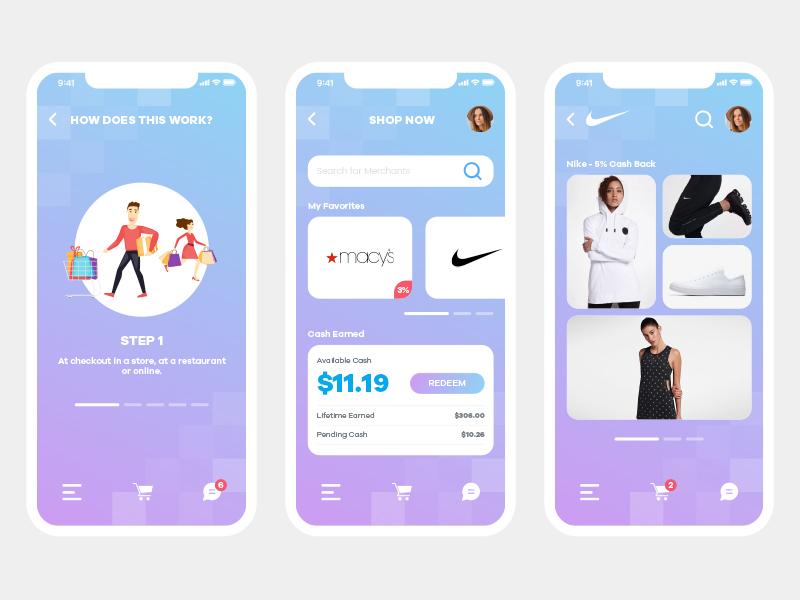 Ecommerce Cash Back flat interface ux ui application app design