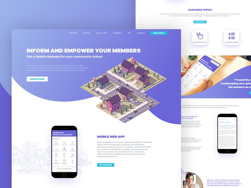 LandingPage for Community Web App management real estate community mobile design landing page ux ui website