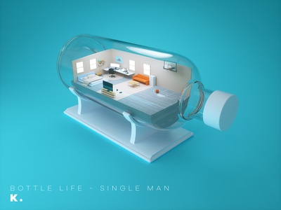 Bottle life - Single Man octanerender isometric lifestyle home illustration c4d 3d
