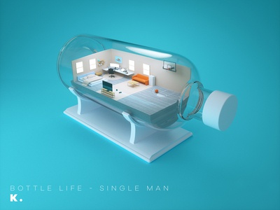 Bottle life - Single Man octanerender isometric lifestyle home illustration c4d 3d