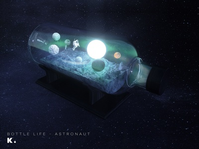 Bottle Life Vol.3 - Astronaut space exploration octanerender octane planet universe space illustration c4d 3d