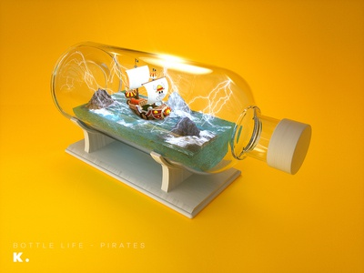 Bottle Life Vol.4 - Pirates sail lightning ship ocean comic manga sunny thousandsunny onepiece pirates illustration c4d 3d