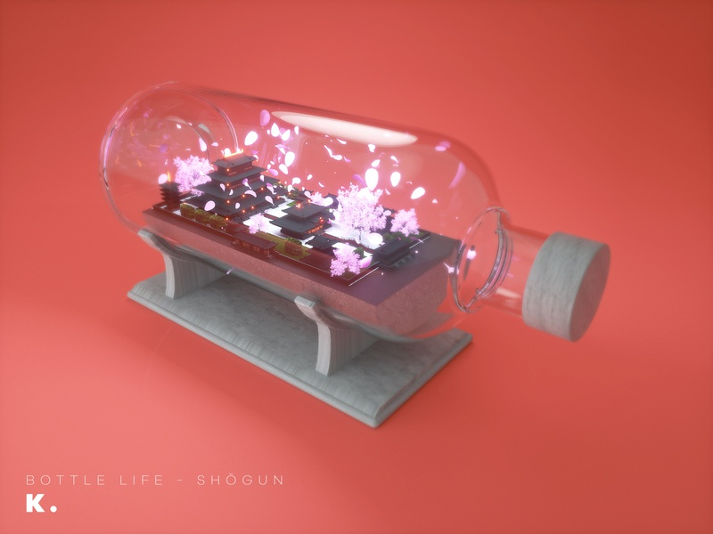 Bottle Life Vol.5 - Shōgun courtyard modeling palace building japanese sakura japan octanerender illustration c4d 3d