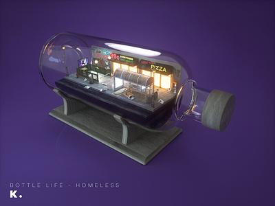Bottle Life Vol.6 - Homeless night modeling street big apple new york illustration octanerender cinema 4d c4d 3d