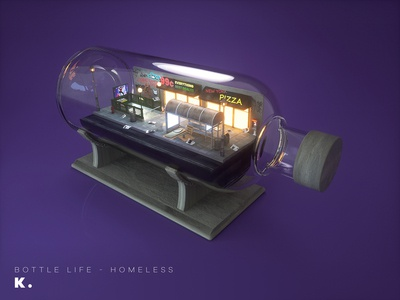 Bottle Life Vol.6 - Homeless night modeling street big apple new york illustration octanerender cinema 4d c4d 3d