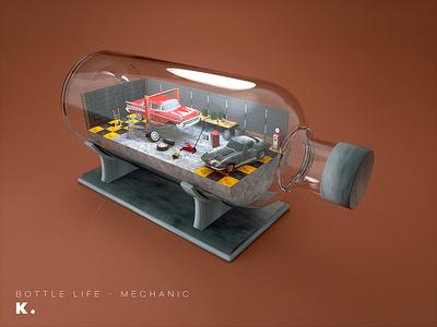 Bottle Life Vol.7 - Mechanic workshop craftman repair interior cars garage octanerender illustration c4d 3d