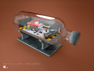 Bottle Life Vol.7 - Mechanic workshop craftman repair interior cars garage octanerender illustration c4d 3d