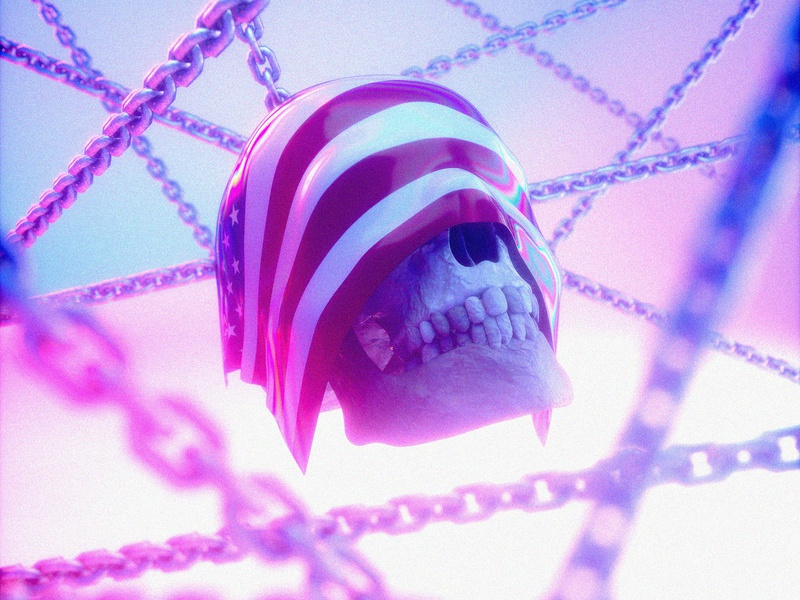 It's time... chains skull flag united states cinema 4d octanerender illustration c4d 3d