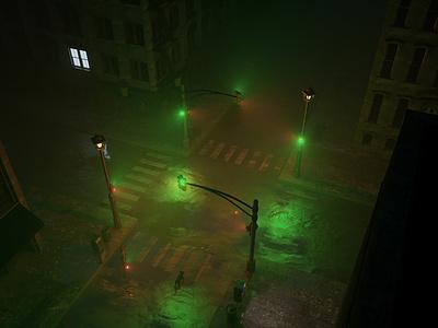 Brooklyn 3:30AM crossroads traffic lights cat loneliness city octanerender illustration c4d 3d