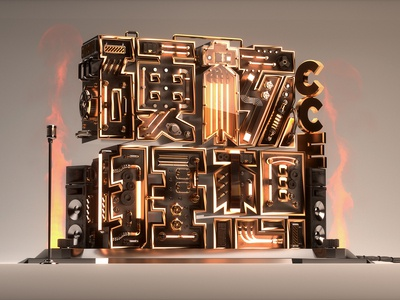 Party Key Visual key visual cinema 4d illustration stage blackgold octanerender hardcore typography c4d 3d