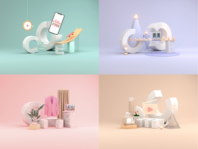 Rebranding in 3D stage design octanerender colors visual identity vi illustration c4d 3d